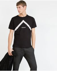 Zara | Black Text T-shirt for Men | Lyst