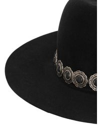 April77 | Black Felt Hat With Detachable Necklace | Lyst