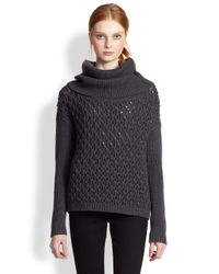 Alice + Olivia - Gray Turtleneck Chunky Sweater - Lyst