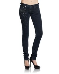 True Religion | Blue Stella Studded Skinny Jeans | Lyst