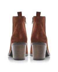 Dune Black - Brown Phelix Suede Block Heel Ankle Boots - Lyst