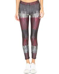 Terez - Gray Leather Fringe Performance Leggings - Leather Fringe - Lyst