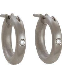 Linda Lee Johnson - Gray Diamond Nony Hoop Earrings - Lyst