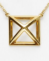 Rebecca Minkoff | Metallic Pyramid Cut-Out Pendant Necklace, 16"