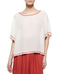 DKNY - White Short-sleeve Peasant Blouse With Embroidered Trim - Lyst