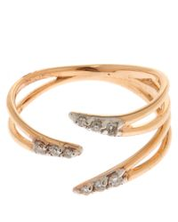 Kismet by Milka | Rose Gold White Diamond Three Arm Pinky Ring | Lyst