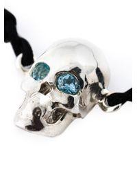 Leivan Kash - Black Topaz Eyes Skull Bracelet - Lyst