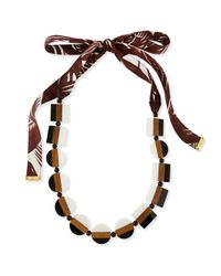 Tory Burch | Black Colorblock Beaded Tie Necklace | Lyst