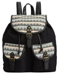 Rampage | Black Fold Over Flap Backpack | Lyst
