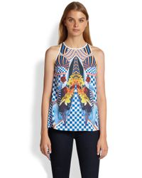 Clover Canyon | Blue Crashing Waves Printed Drapedback Top | Lyst