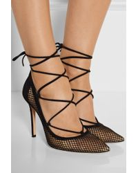 Gianvito Rossi - Black Lace-up Suede And Mesh Pumps - Lyst
