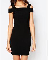 ASOS - Cut Out Shoulder Rib Mini Bodycon Dress - Black - Lyst
