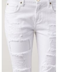 7 For All Mankind | White Relaxed Skinny Girlfriend Jeans | Lyst