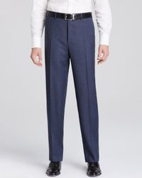 Canali | Blue Tick Weave Siena Trousers for Men | Lyst