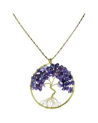 Aeravida | Purple Amethyst Stone Eternal Tree Of Life Brass Long Necklace | Lyst