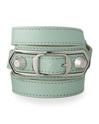 Balenciaga | Green Classic Leather Wrap Bracelet | Lyst