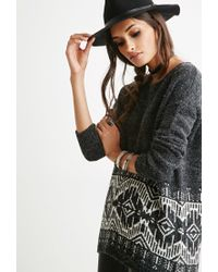 Forever 21 - Gray Diamond-patterned Longline Sweater - Lyst
