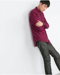 Zara   Black Check Organic Cotton Shirt for Men   Lyst