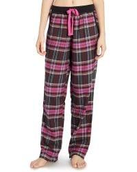 DKNY - Black Perfect Plaid Cotton Pants - Lyst