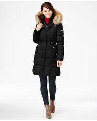 DKNY - Black Faux-fur-trim Layered Puffer Coat - Lyst