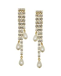 kate spade new york | Metallic New York Goldtone Crystal and Imitation Pearl Linear Earrings | Lyst