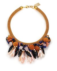 Lizzie Fortunato | Brown Painted Reality Semi-precious Multi-stone & Pearl Statement Bib Necklace | Lyst