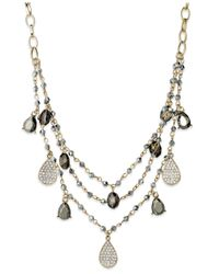 INC International Concepts - Metallic Inc International Concept Gold-tone Crystal Charm And Bead Three-row Necklace - Lyst