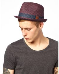 Fred Perry - Purple Straw Trilby Hat for Men - Lyst