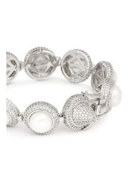 Eddie Borgo - Metallic Crystal Pavé Pearl Cabochon Bracelet - Lyst