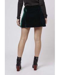 TOPSHOP - Green Velvet Belted Mini Skirt - Lyst