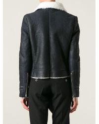 Anthony Vaccarello - Black Shearling Biker Jacket - Lyst
