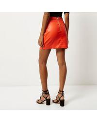 River island Orange Leather Look Mini Skirt in Orange | Lyst