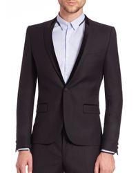 The Kooples - Black Velvet-Trimmed Wool Blazer for Men - Lyst
