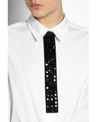 Marni | Black Crystal-embellished Cotton-blend Tie | Lyst
