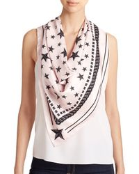 Givenchy | Pink Stars Silk Scarf | Lyst