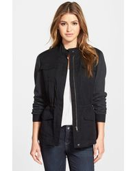 Caslon | Black Military Jacket With Knit Sleeves | Lyst