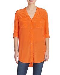 DKNY | Orange Silk Button Down Blouse | Lyst