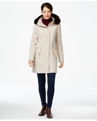 Ivanka Trump | Natural Faux-fur-trim Softshell Walker Coat | Lyst