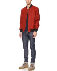 PS by Paul Smith - Red Wool Bomber Jacket for Men - Lyst