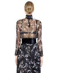 Rochas | Black Swallows Printed Silk Organza Shirt | Lyst