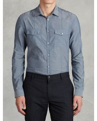 John Varvatos | Blue Denim Style Shirt for Men | Lyst