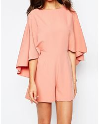 ASOS - Pink Playsuit With Cape Sleeve - Lyst