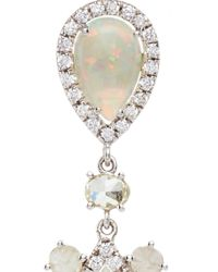 Nina Runsdorf | Metallic White Crystal Opal And Fancy Diamond Earrings | Lyst