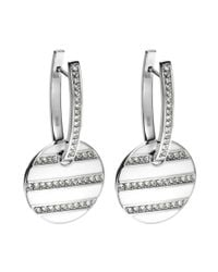 Emporio Armani - Metallic Stainless Steel and Crystal Stripe Earrings - Lyst