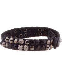DIESEL | Black and Gunmetal Studded Asbrigo Bracelet for Men | Lyst