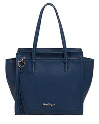 Ferragamo - Blue Medium Amy Grained Leather Tote Bag - Lyst