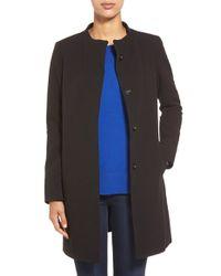 T Tahari Black 'emma' Snap Front Coat