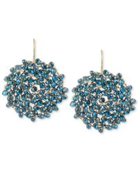 Kenneth Cole | Metallic Gold-tone Woven Faceted Bead Round Drop Earrings | Lyst