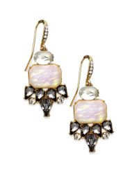 INC International Concepts - Metallic Goldtone Black Diamond and Opalcolored Stone Drop Earrings - Lyst