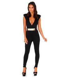 Missguided - Black Kloudin Belted Crossover Jumpsuit - Lyst